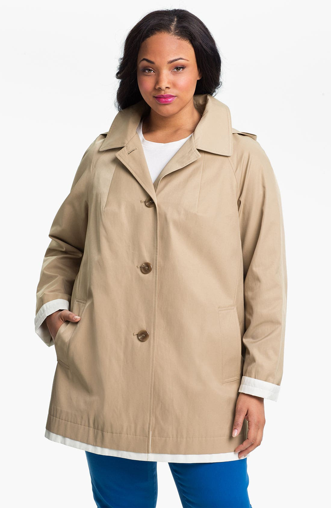 Main Image - Gallery Contrast Trim A-Line Coat (Plus Size)