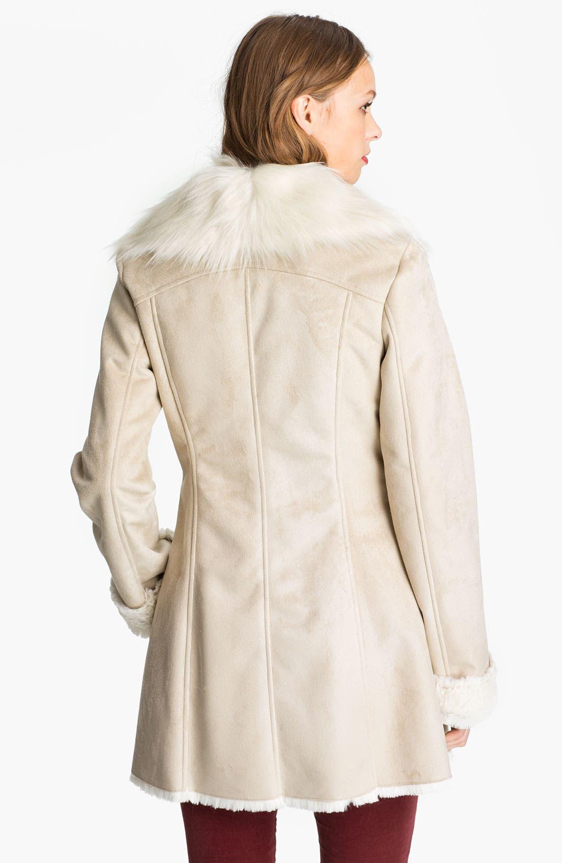 Alternate Image 2  - GUESS Faux Shearling Walking Coat