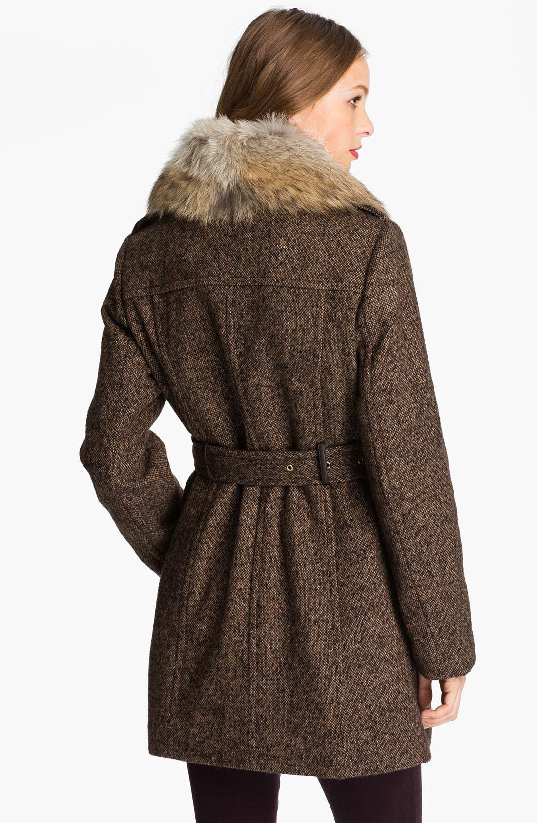 Alternate Image 2  - MICHAEL Michael Kors Belted Tweed Coat with Genuine Coyote Fur
