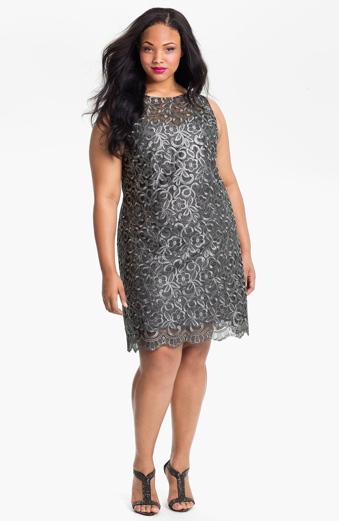 Main Image - Donna Ricco Illusion Bodice Sleeveless Sheath Dress (Plus)