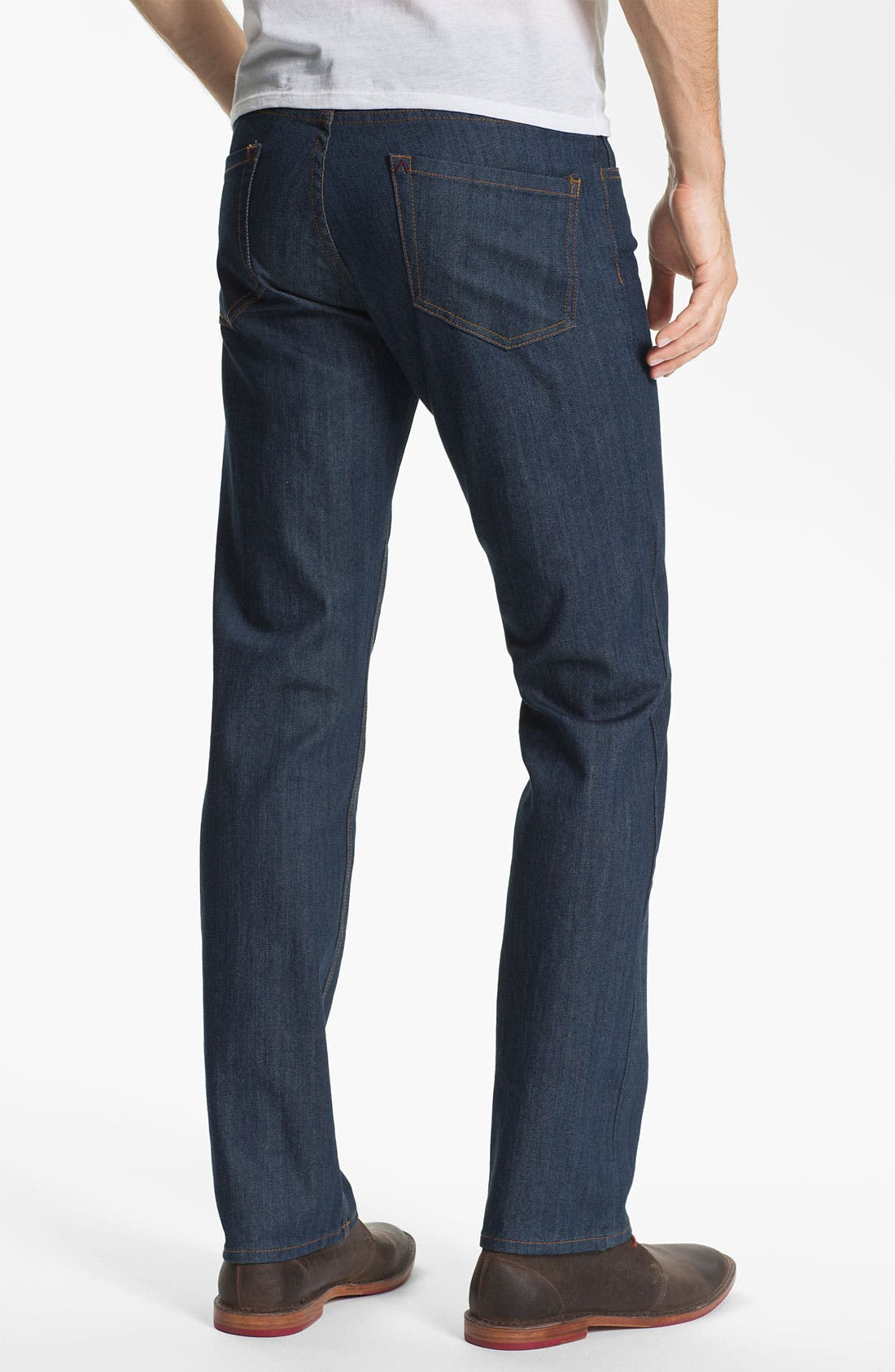 Alternate Image 1 Selected - RVCA Slim Straight Leg Jeans (Classic Blue)