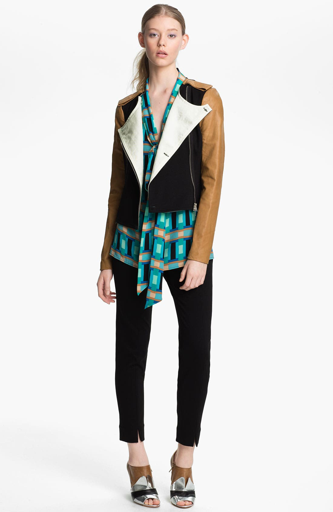 Alternate Image 1 Selected - Tracy Reese Leather Sleeve Ponte Knit Jacket