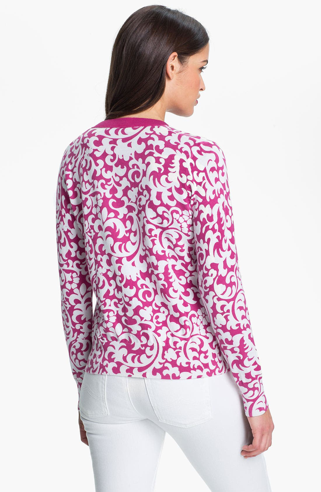 Alternate Image 2  - Foxcroft Scroll Print Cardigan