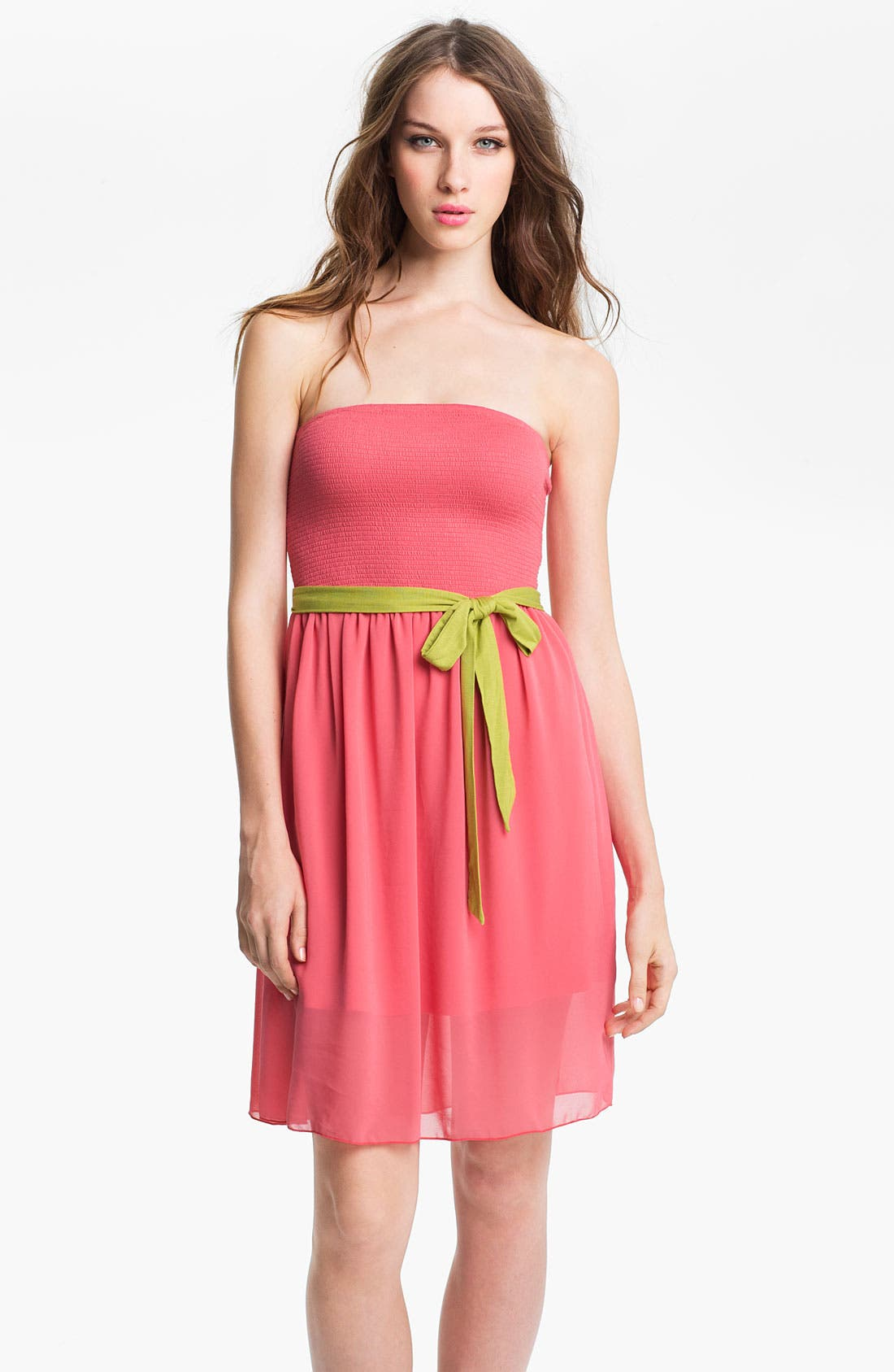 Alternate Image 1 Selected - Kensie Belted Strapless Dress