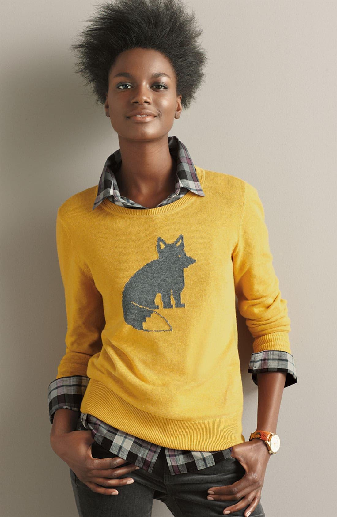 Alternate Image 4  - Caslon® Patterned Crewneck Sweater
