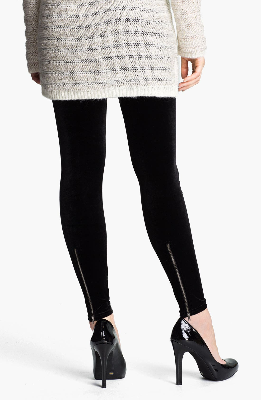 Main Image - Nordstrom Back Zip Velvet Leggings