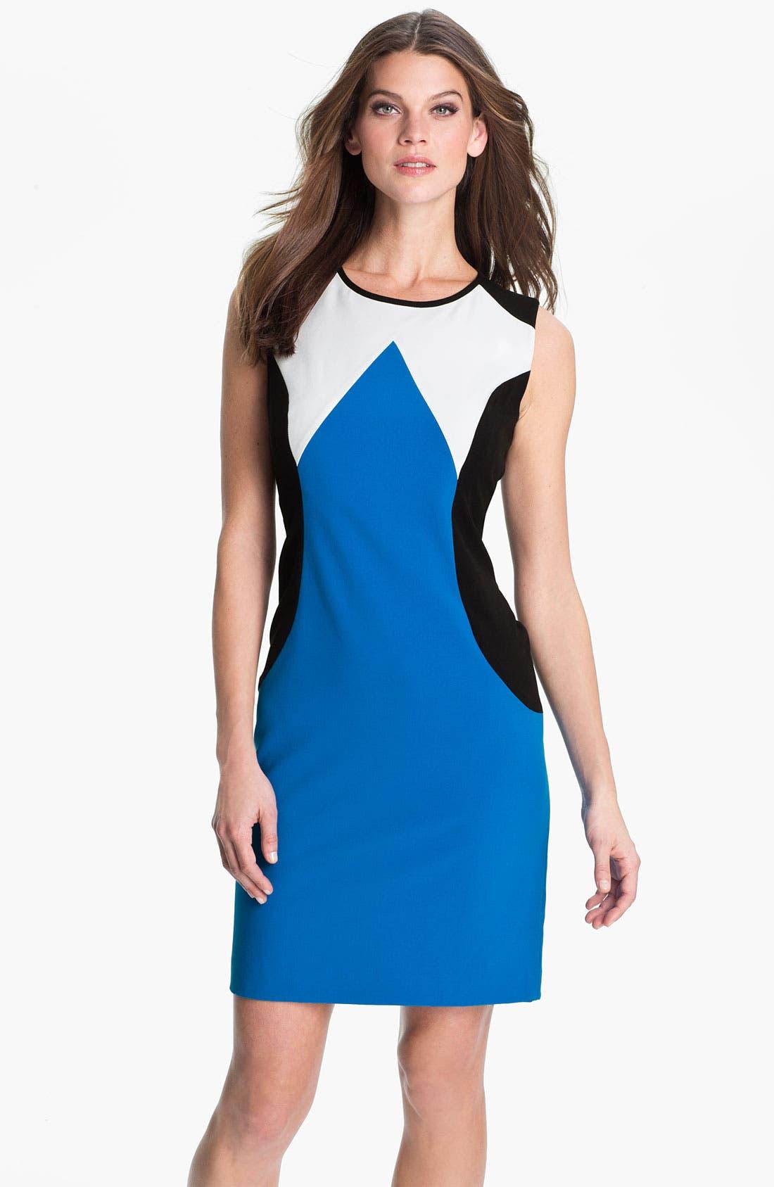 Alternate Image 1 Selected - Calvin Klein Colorblock Crew Neck Sheath Dress