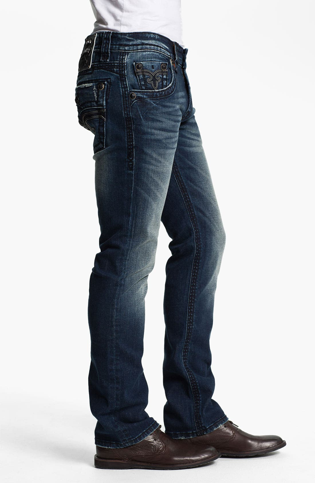 Alternate Image 3  - Rock Revival 'Spencer' Straight Leg Jeans (Medium Blue)
