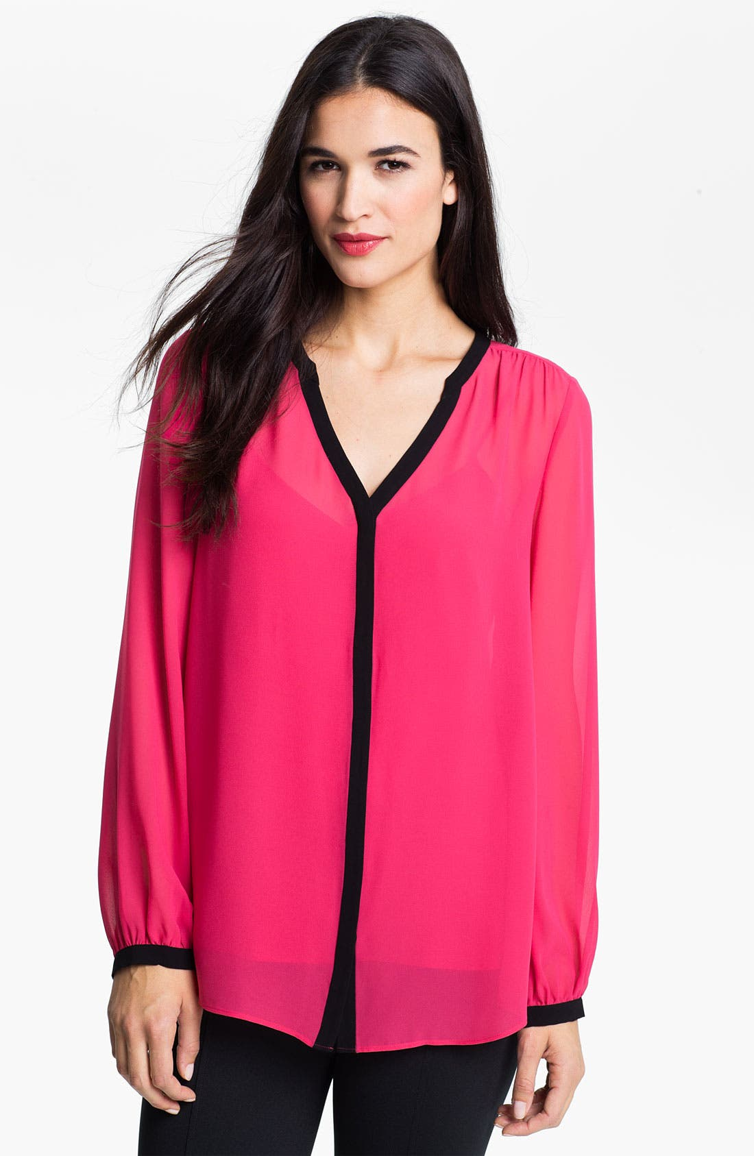 Alternate Image 1 Selected - DKNYC Two Tone V-Neck Blouse