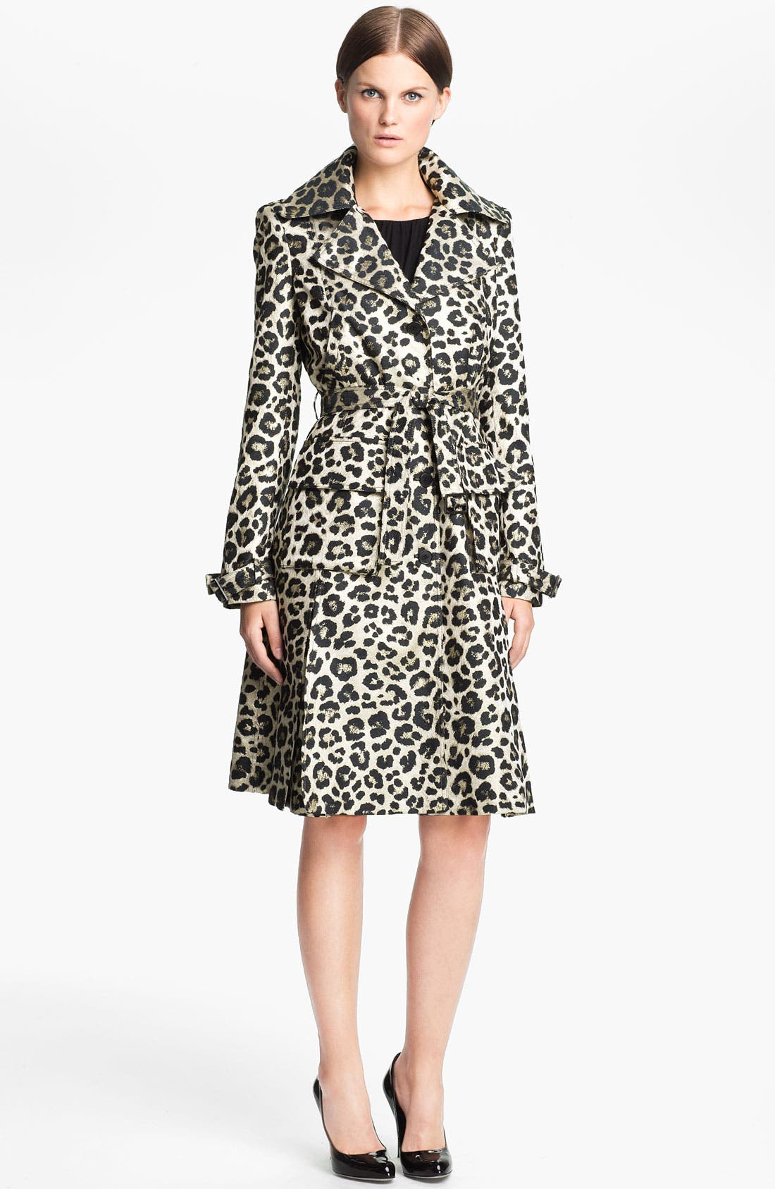 Main Image - Alice + Olivia 'Charla' Leopard Print Belted Trench