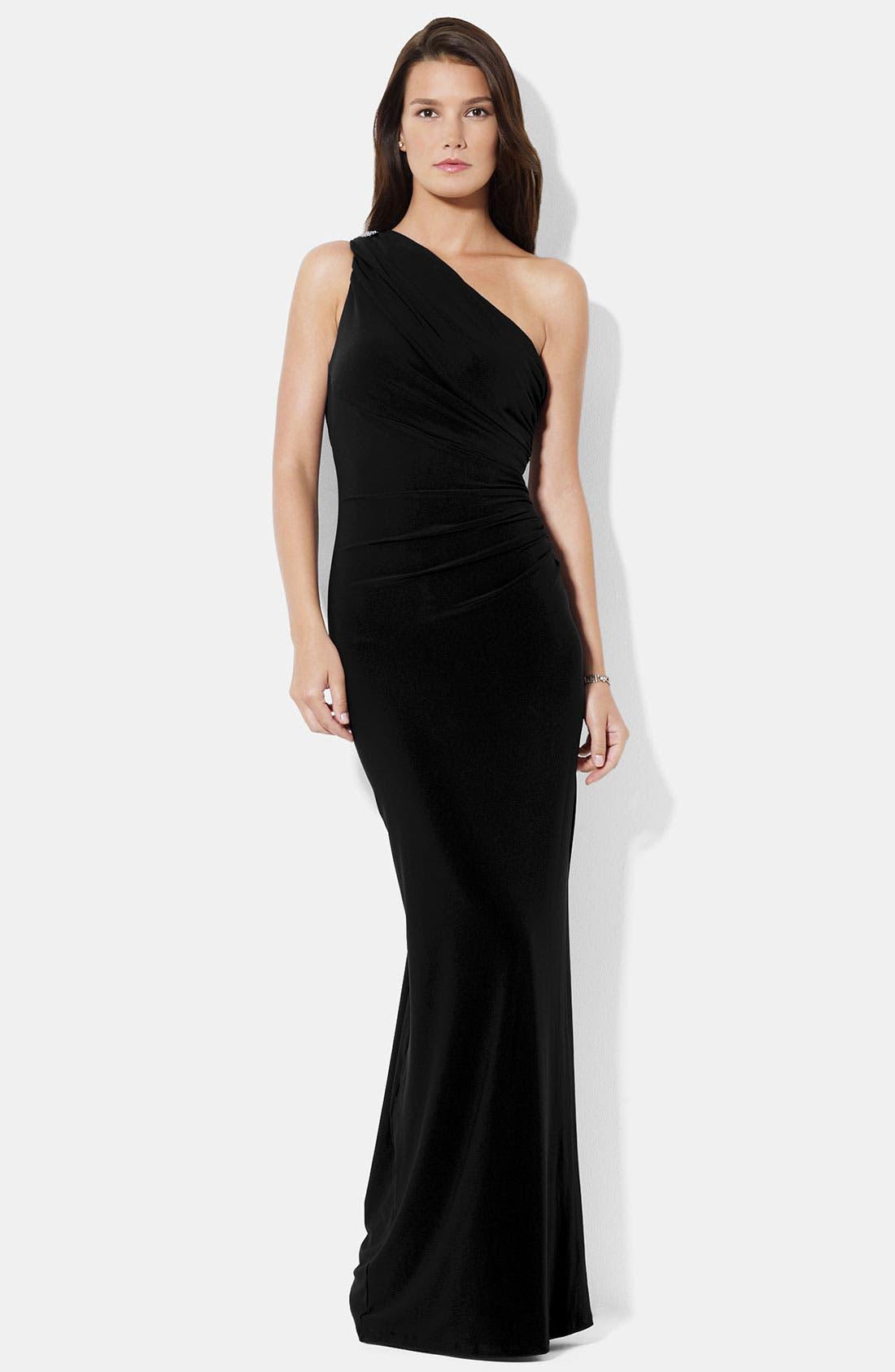 Alternate Image 1 Selected - Lauren Ralph Lauren One Shoulder Matte Jersey Gown