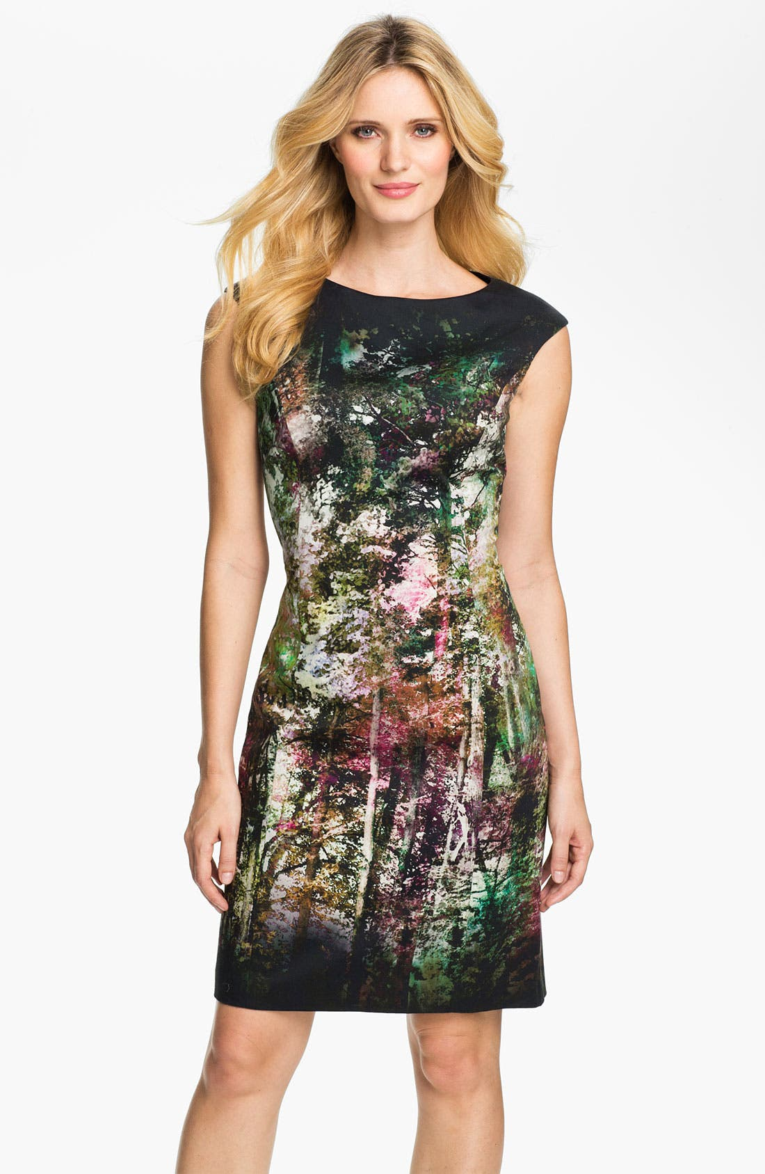 Main Image - Kay Unger Abstract Print Cotton Sheath Dress