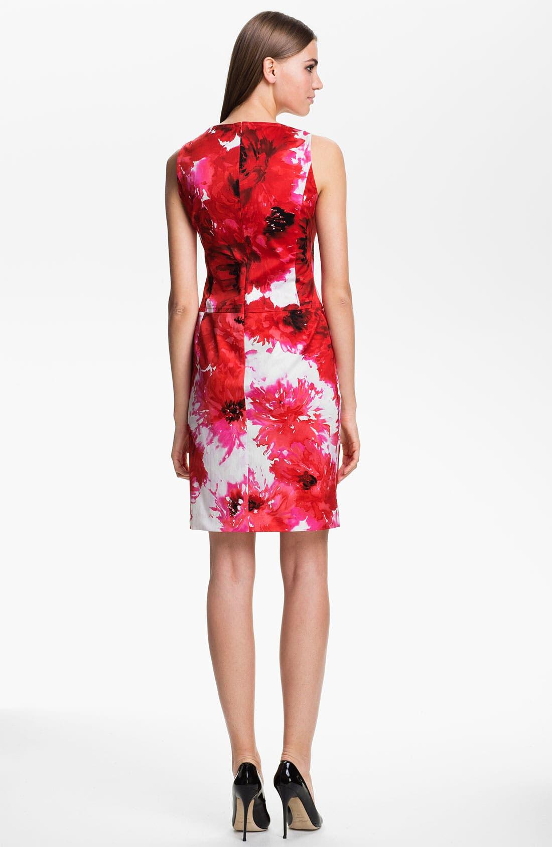 Alternate Image 2  - St. John Collection Chrysanthemum Print Stretch Sateen Dress