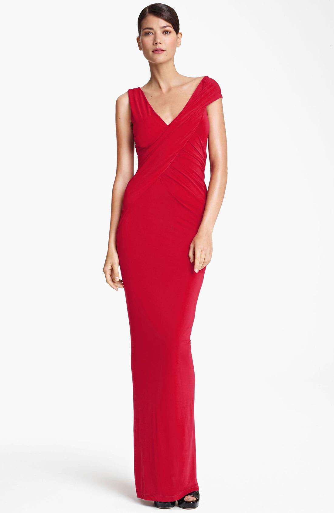 Main Image - Donna Karan Collection Cap Sleeve Jersey Gown
