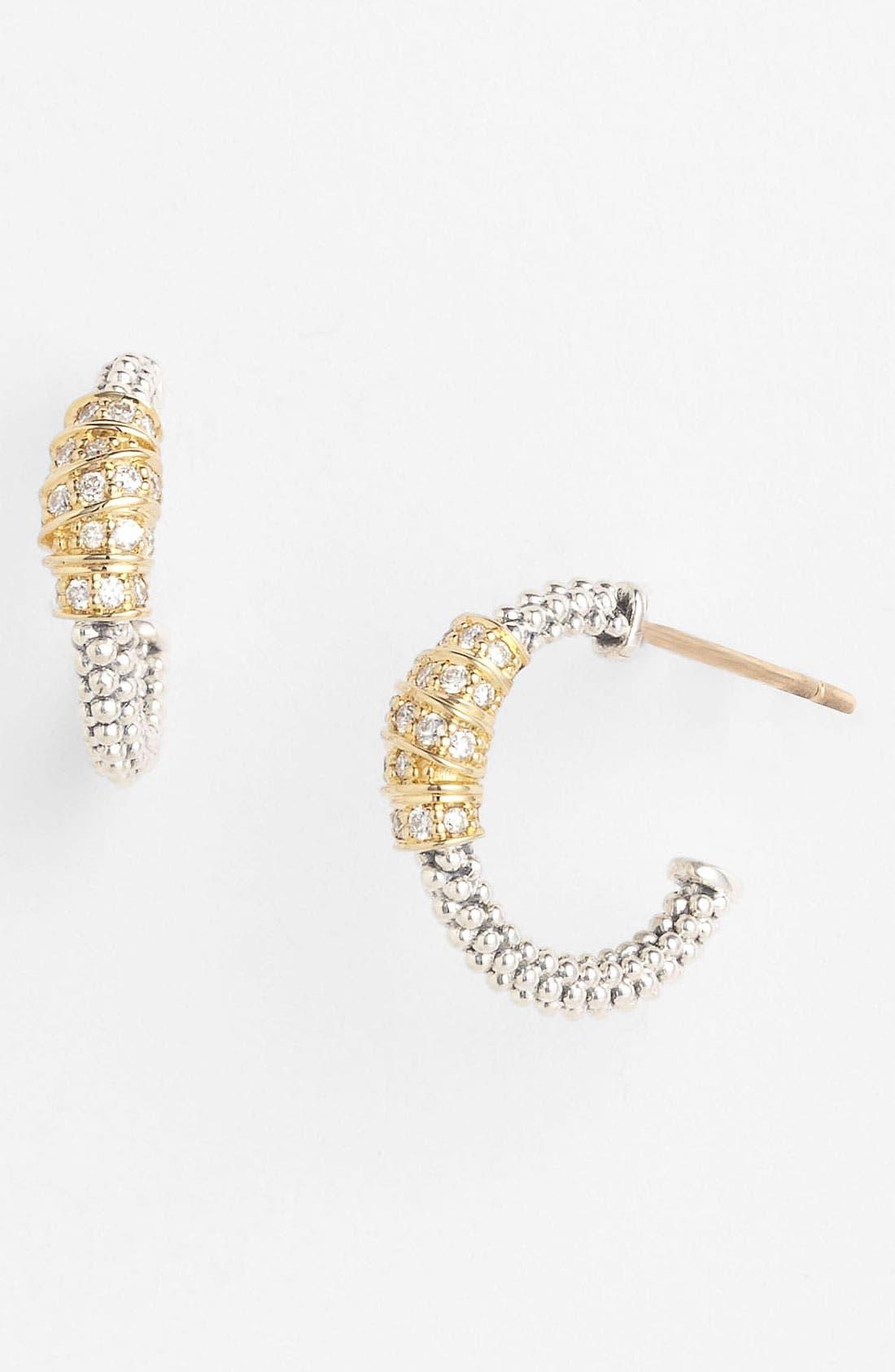 Alternate Image 1 Selected - Lagos 'Embrace' Diamond & Caviar™ Hoop Earrings (Online Only)