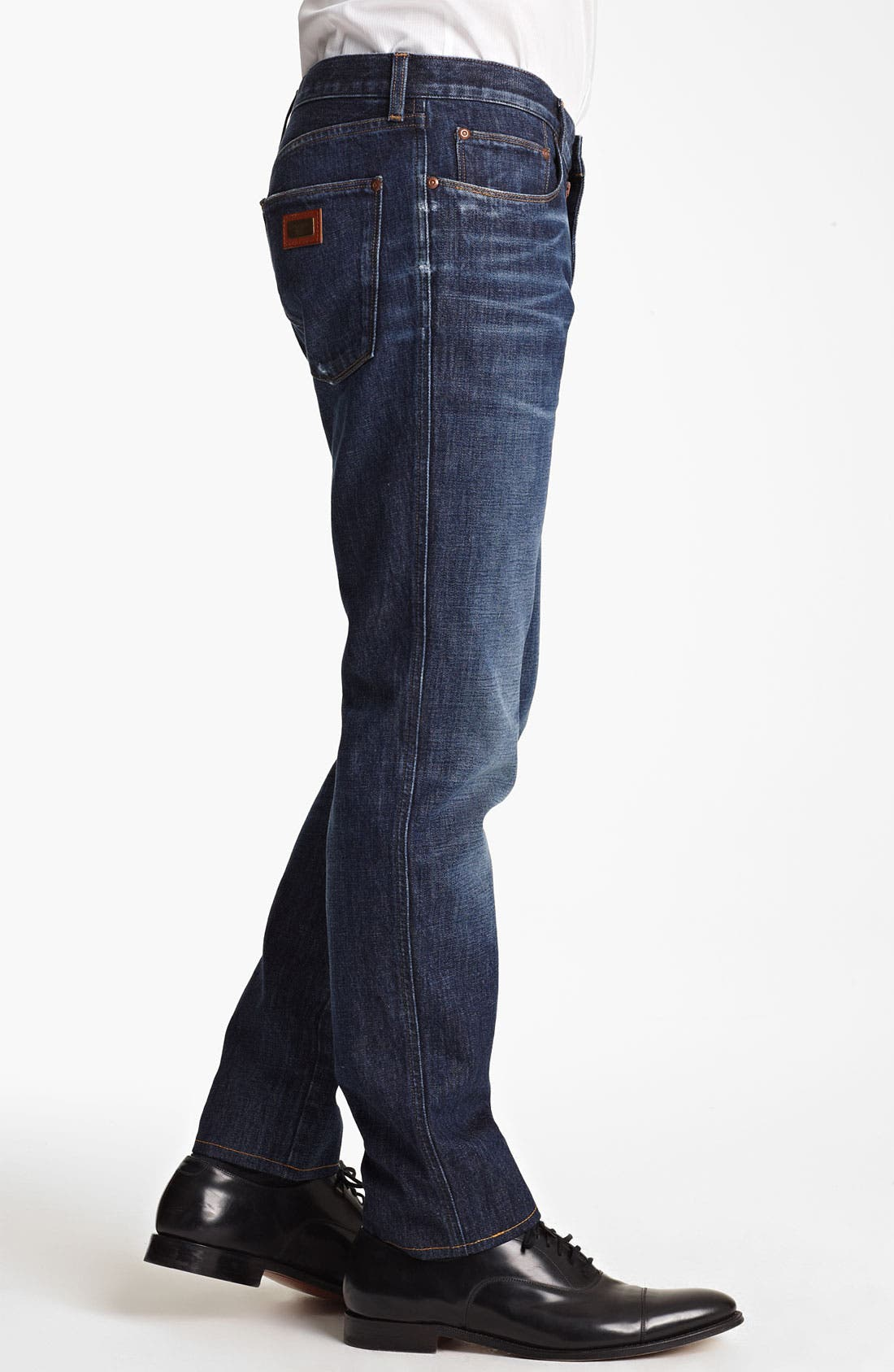Slim Straight Leg Jeans,                             Alternate thumbnail 3, color,                             Dark Blue