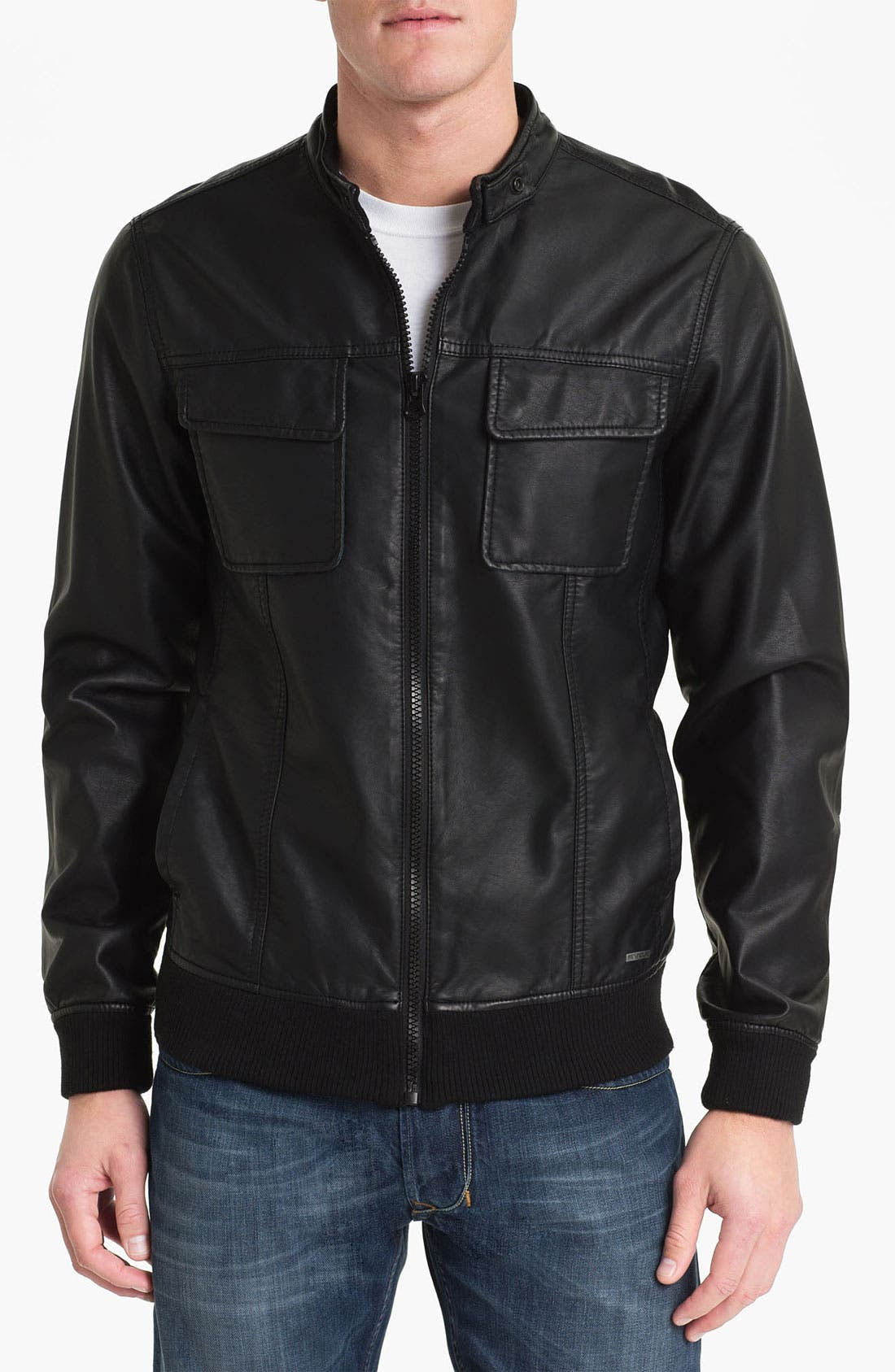 Alternate Image 1 Selected - RVCA 'Crasher' Faux Leather Jacket