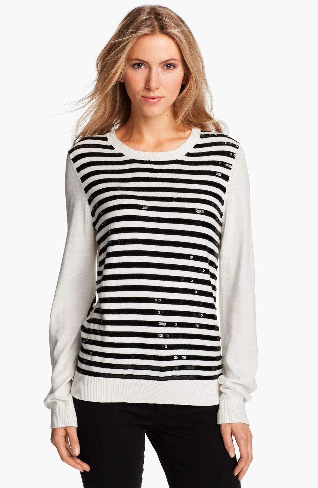 Alternate Image 1 Selected - MICHAEL Michael Kors Sequin Stripe Sweater