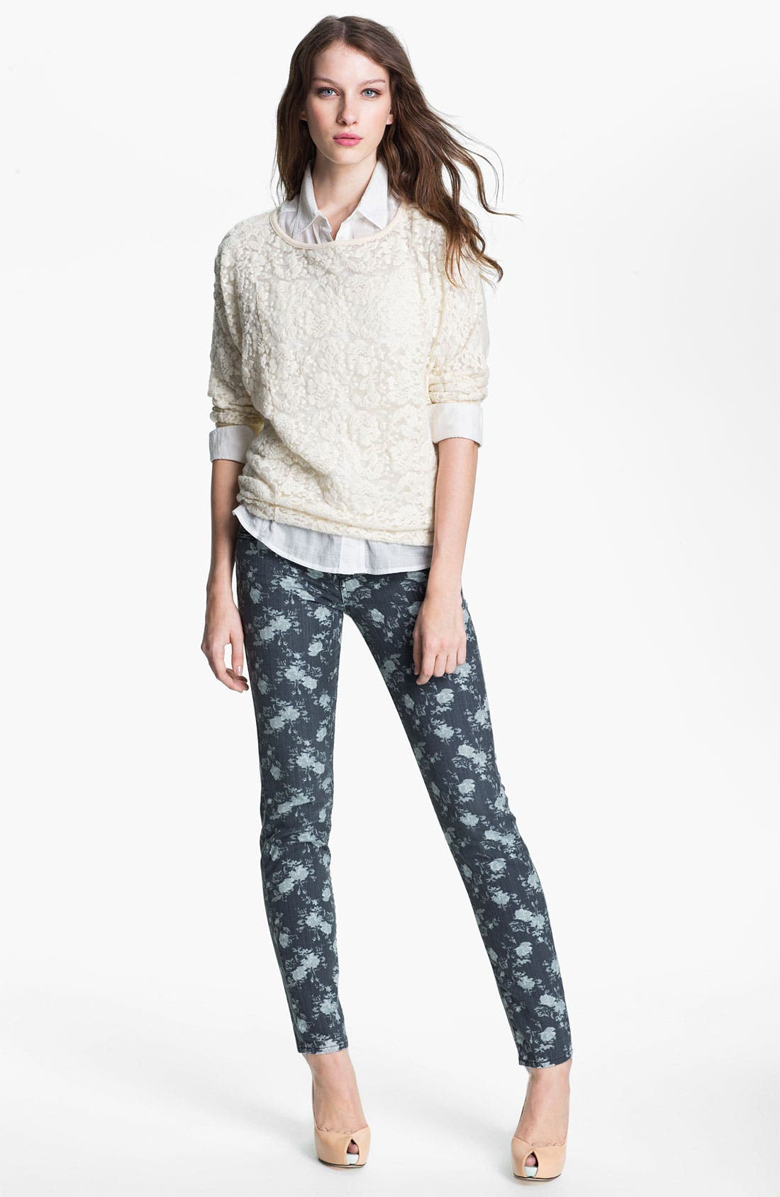 Alternate Image 4  - KUT from the Kloth 'Diana' Floral Skinny Jeans