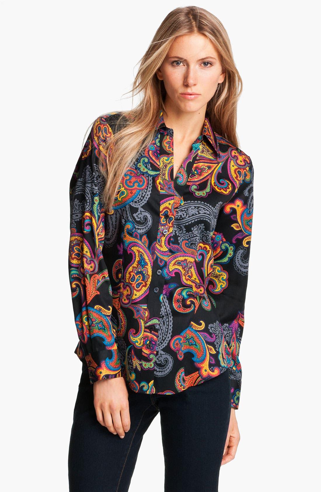 Alternate Image 1 Selected - Foxcroft 'Holiday Paisley' Shirt (Petite)