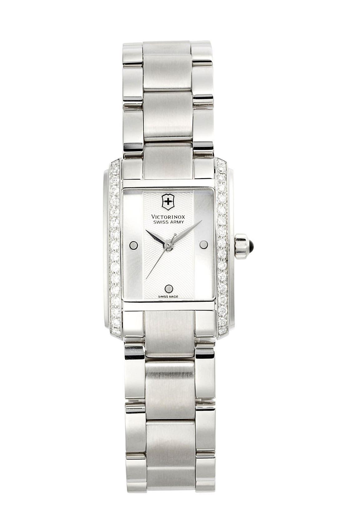 Main Image - Victorinox Swiss Army® 'Vivante' Rectangular Diamond Case Bracelet Watch, 21mm x 30mm