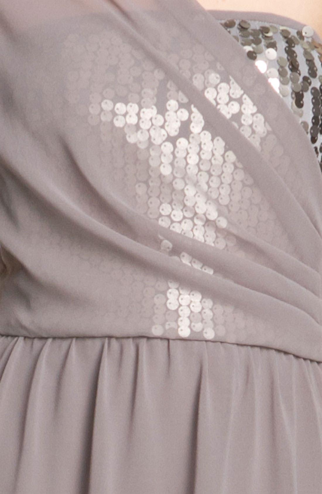 Alternate Image 3  - Donna Ricco One Shoulder Chiffon Dress with Sequin Trim