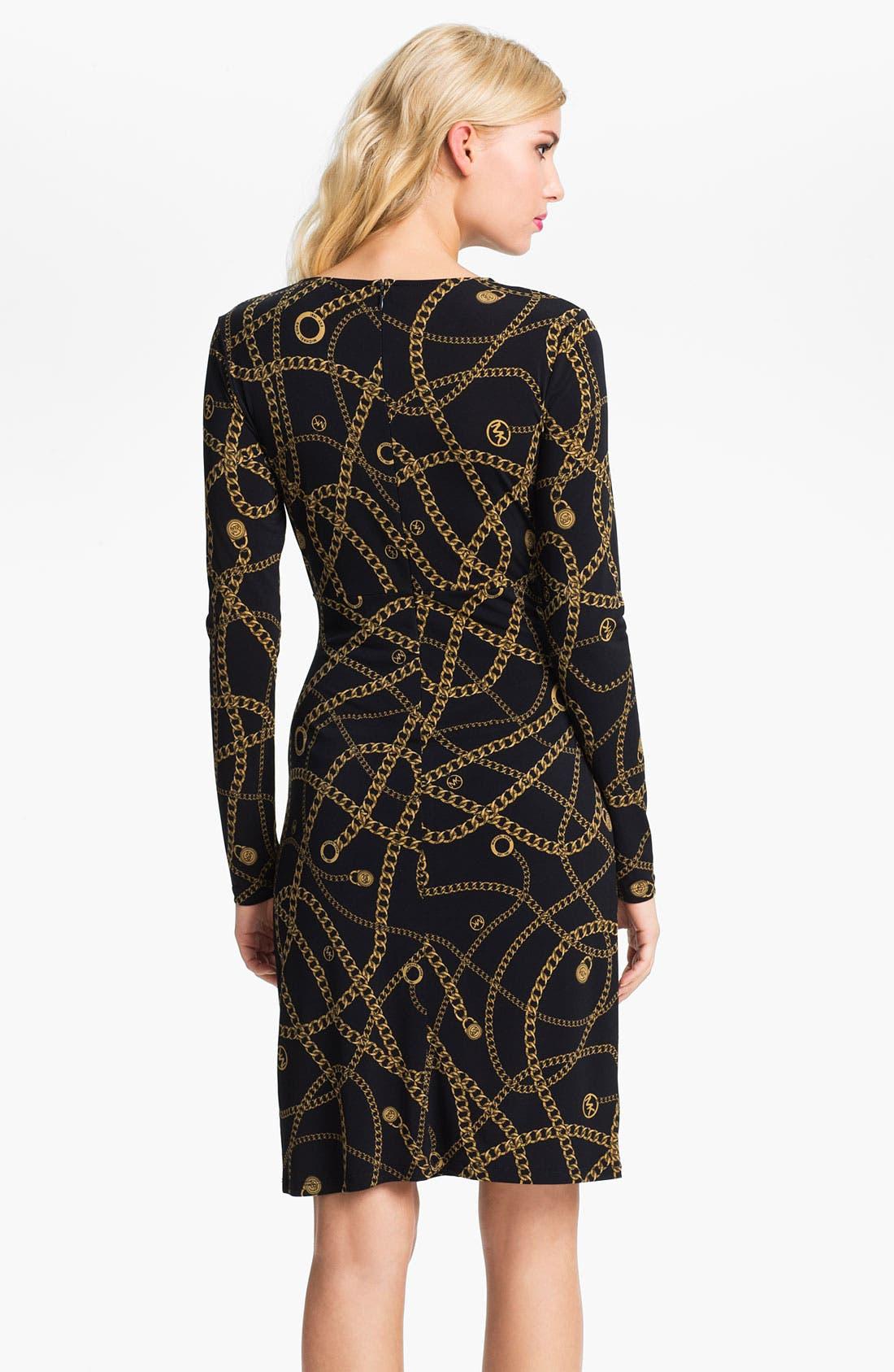 Alternate Image 2  - MICHAEL Michael Kors Pleat Front V-Neck Dress