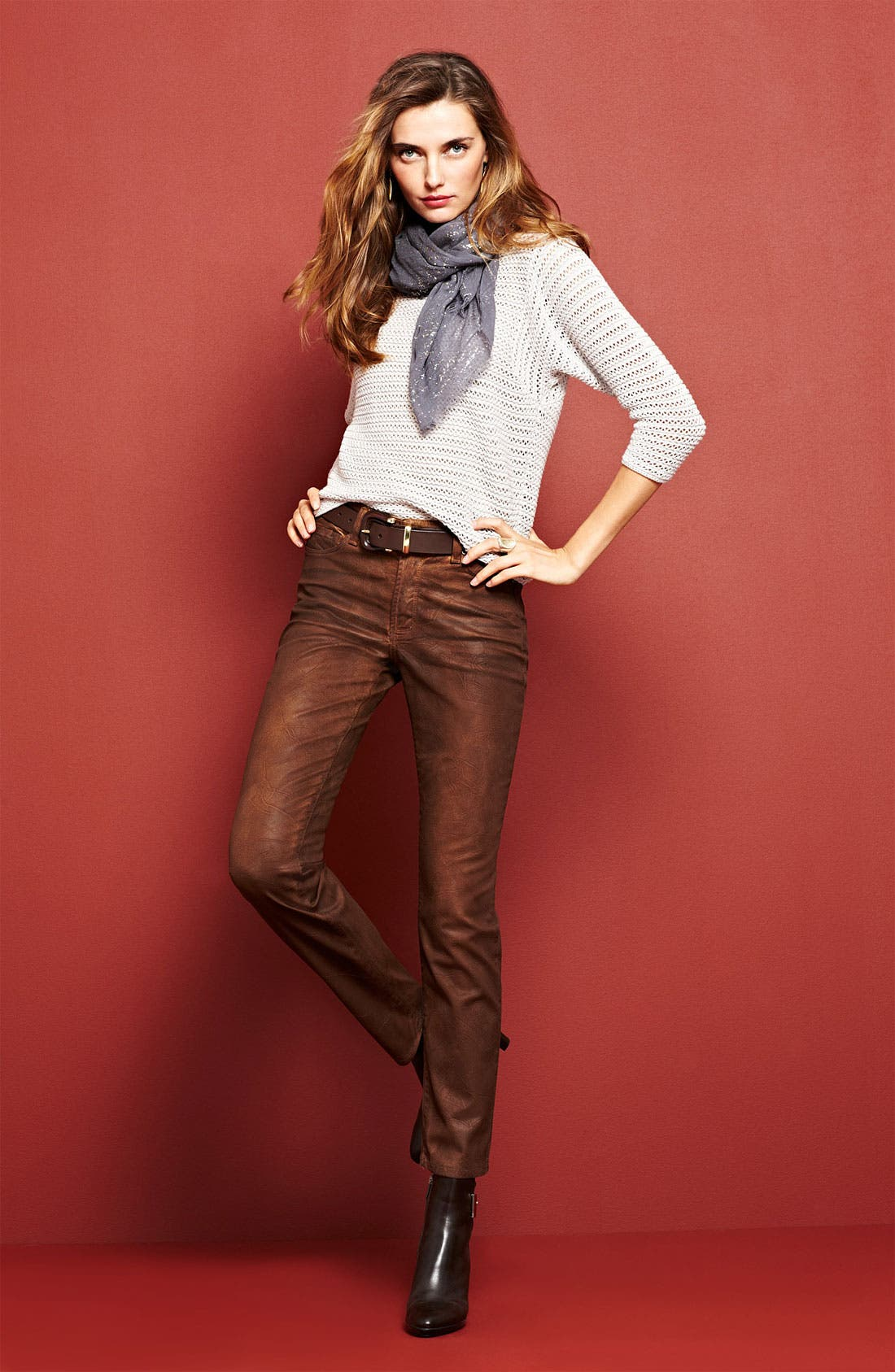 Main Image - Holistia Sweater & NYDJ 'Sheri' Coated Jeans