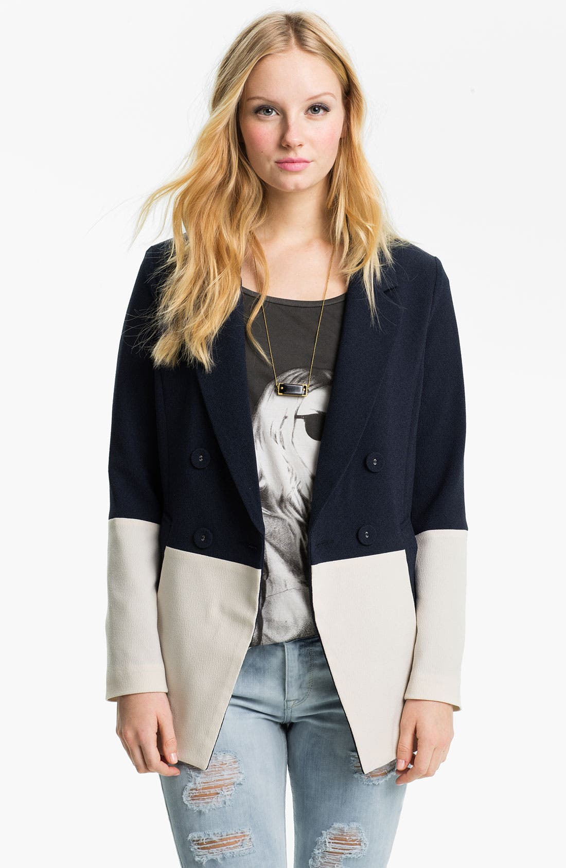 Main Image - GREYLIN Double Breasted Colorblock Blazer