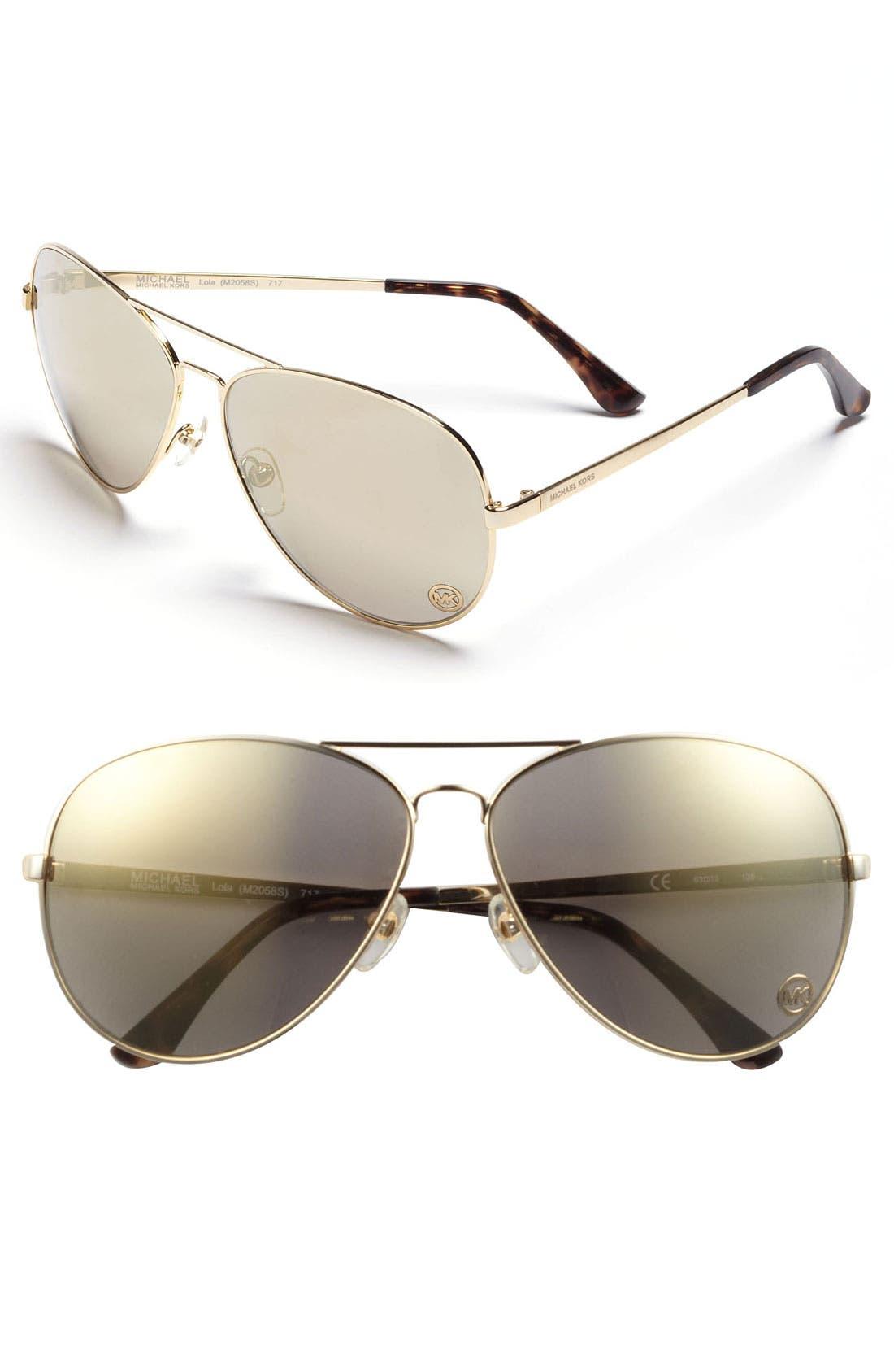 Main Image - MICHAEL Michael Kors 'Lola' 63mm Aviator Sunglasses