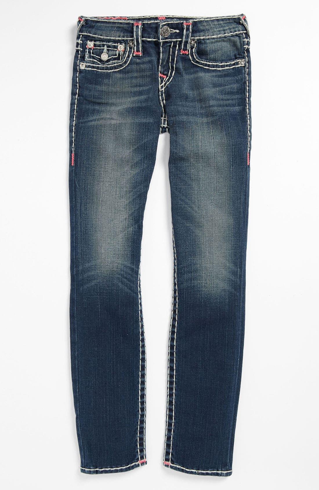 Alternate Image 2  - True Religion Brand Jeans 'Bartack - Super T' Straight Leg Jeans (Little Girls & Big Girls)