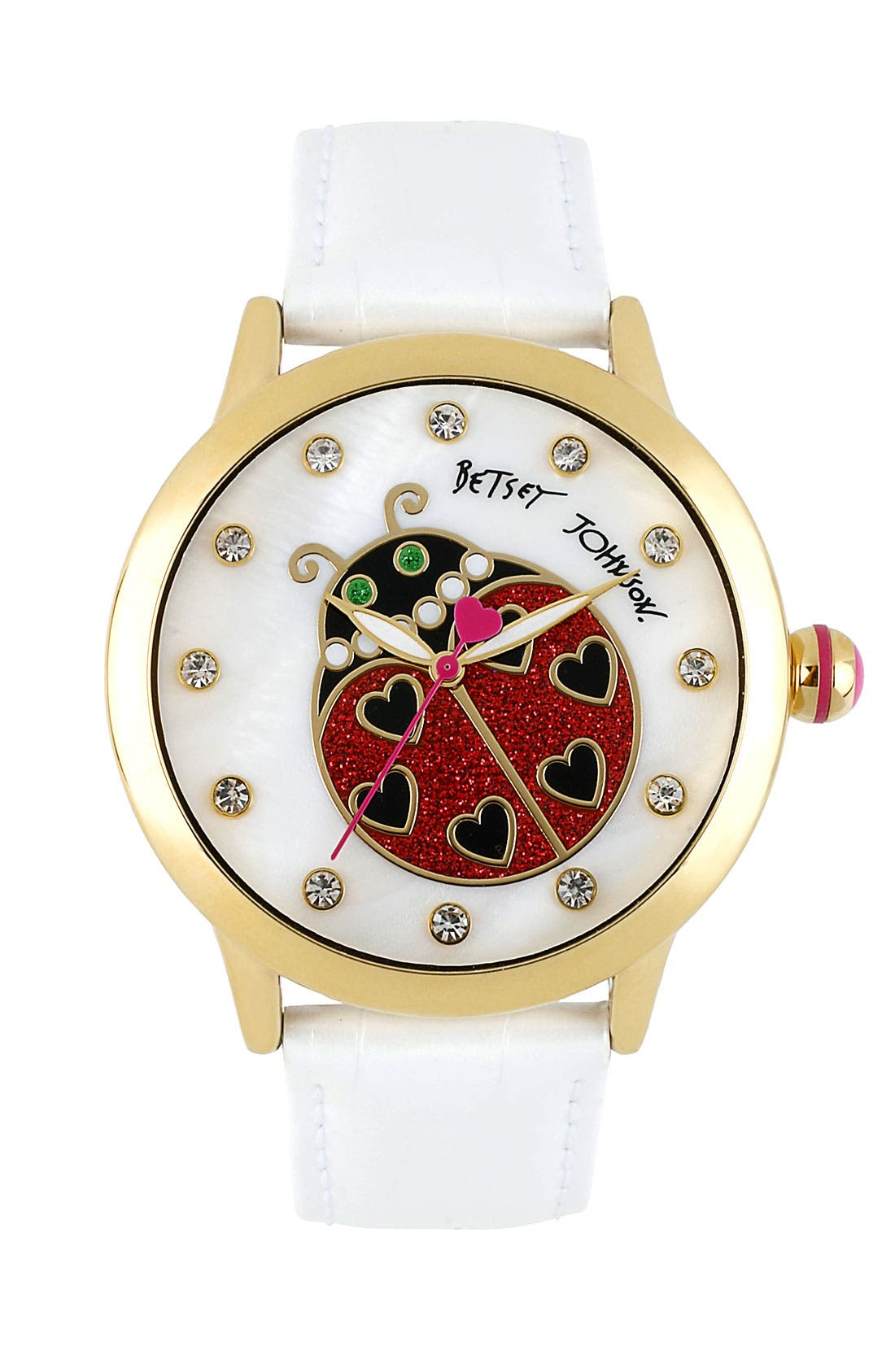Alternate Image 1 Selected - Betsey Johnson Ladybug Dial Leather Strap Watch