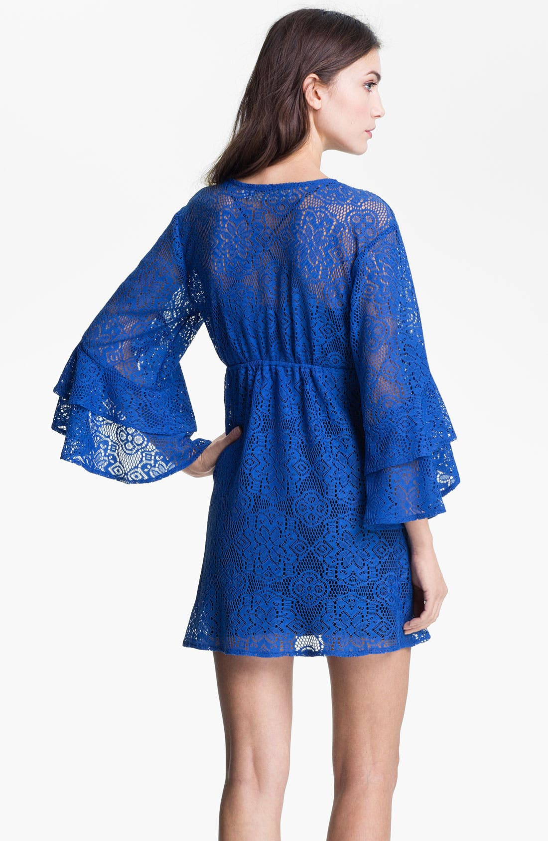 Alternate Image 2  - Tbags Los Angeles Ruffle Bell Sleeve Lace Dress