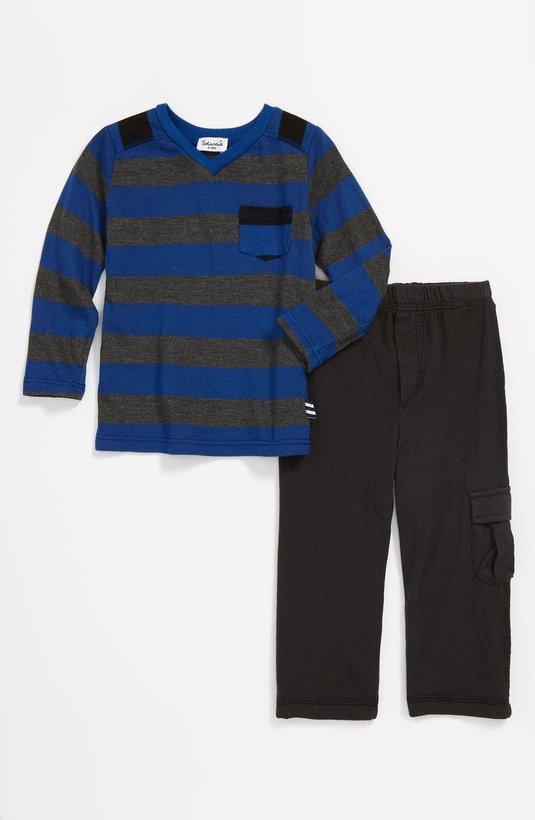 Alternate Image 1 Selected - Splendid Stripe Top & Knit Pants (Infant)