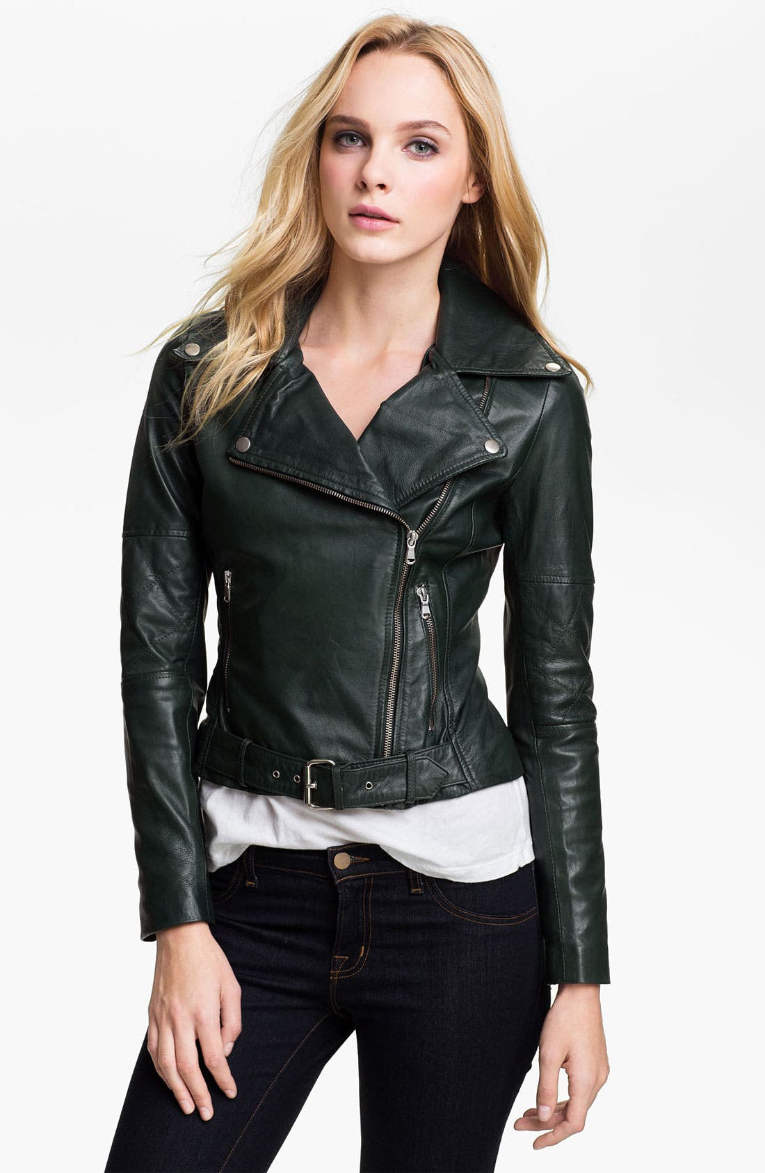 Alternate Image 1 Selected - Kenna-T Cropped Leather Biker Jacket
