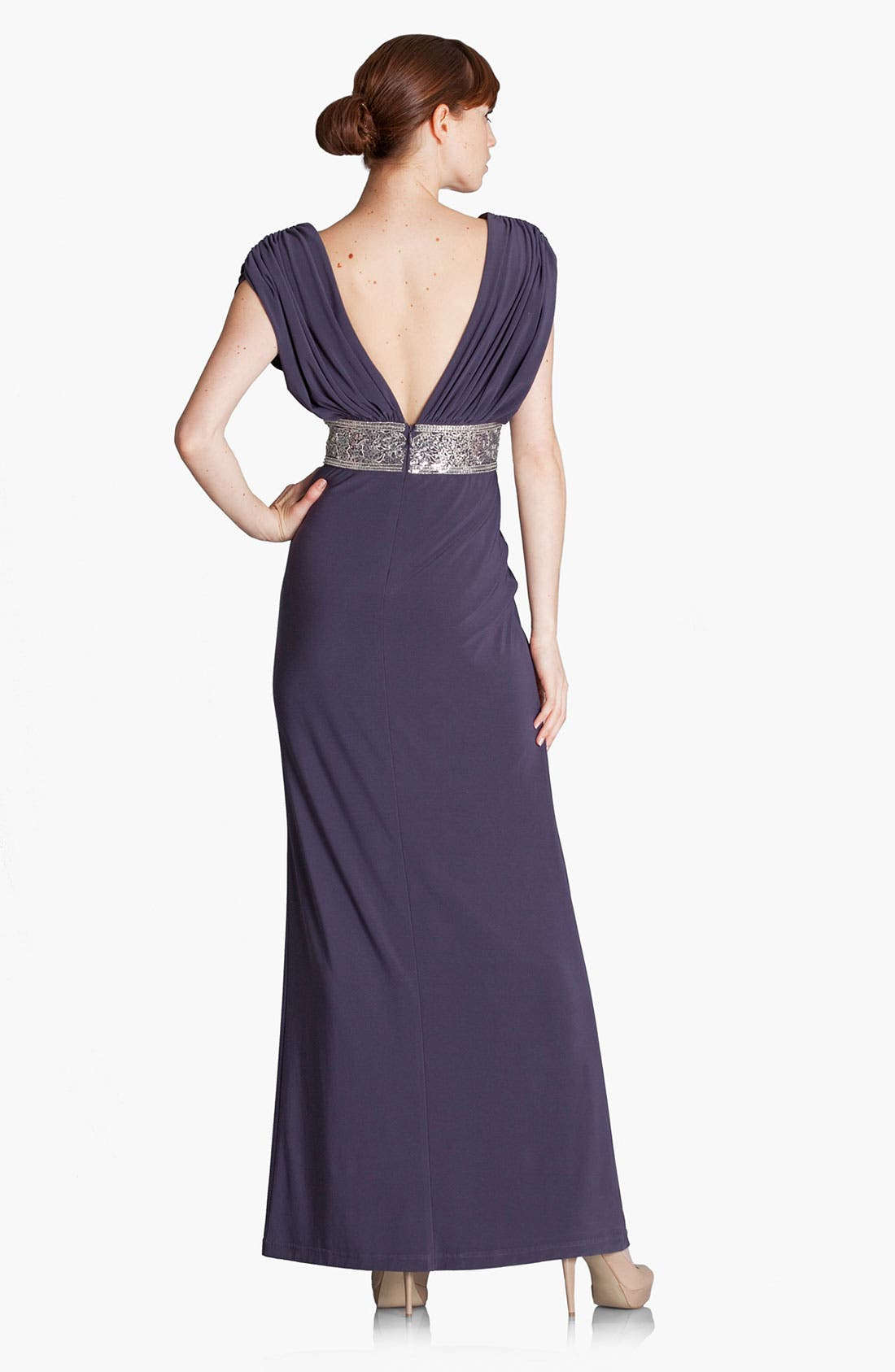 Alternate Image 2  - JS Boutique Metallic Waist Pleated Surplice Gown