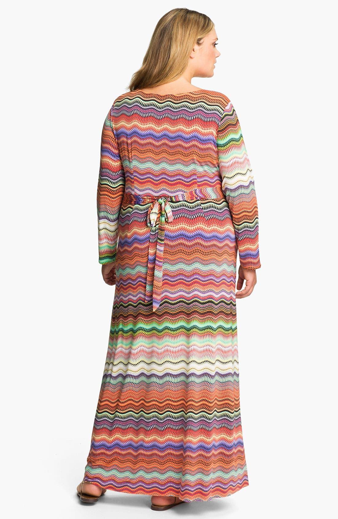 Alternate Image 2  - Tbags Los Angeles Faux Wrap Maxi Dress (Plus)