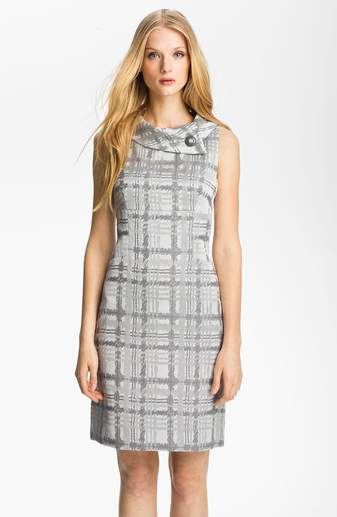 Main Image - Tahari by Arthur S. Levine Folded Neck Plaid Sheath Dress
