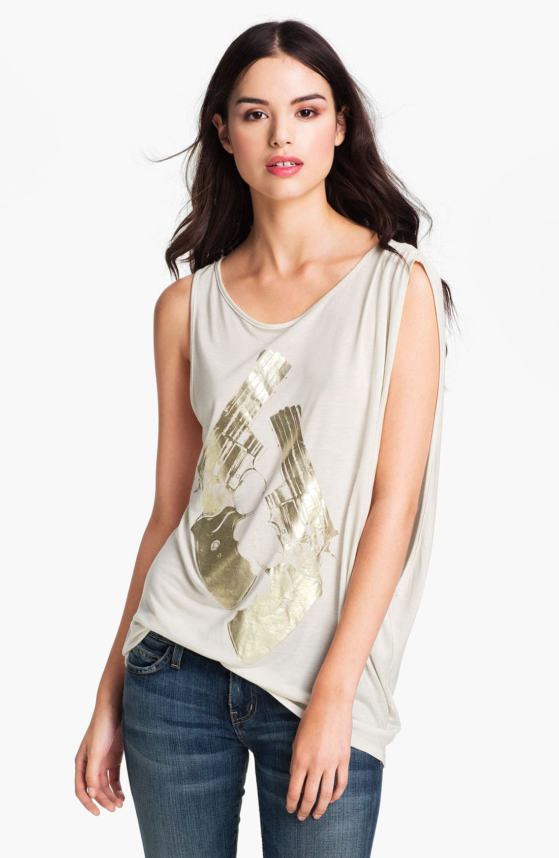 Alternate Image 1 Selected - Haute Hippie 'Gold Guns' Metallic Graphic Tank