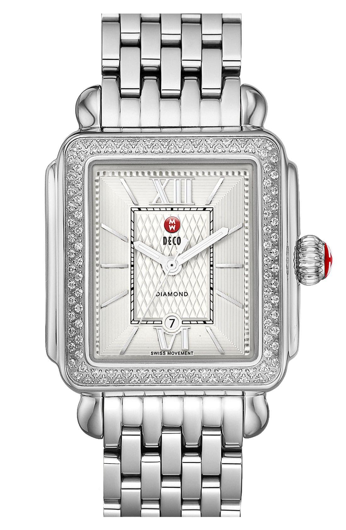 Alternate Image 2  - MICHELE 'Deco Diamond' Guilloche Dial Watch Case, 33mm x 35mm