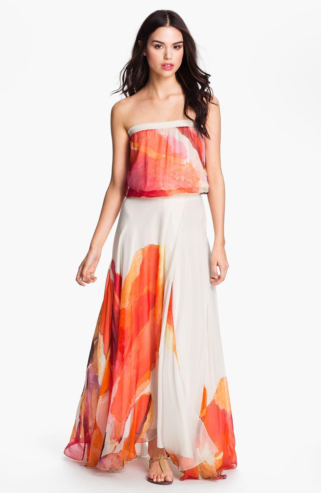 Main Image - Haute Hippie Abstract Floral Chiffon Maxi Dress