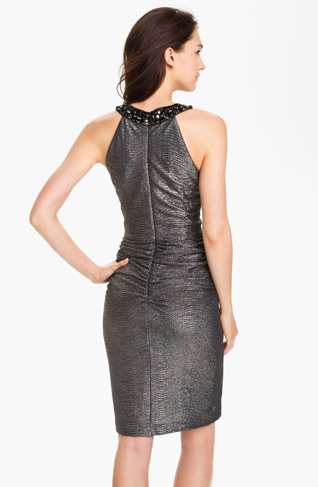 Alternate Image 2  - Maggy London Beaded Neck Metallic Sheath Dress (Petite)