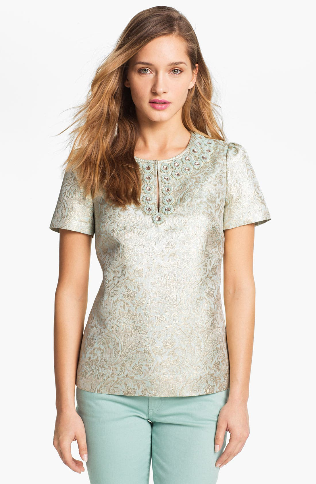 Main Image - Tory Burch 'Lola' Metallic Silk Top