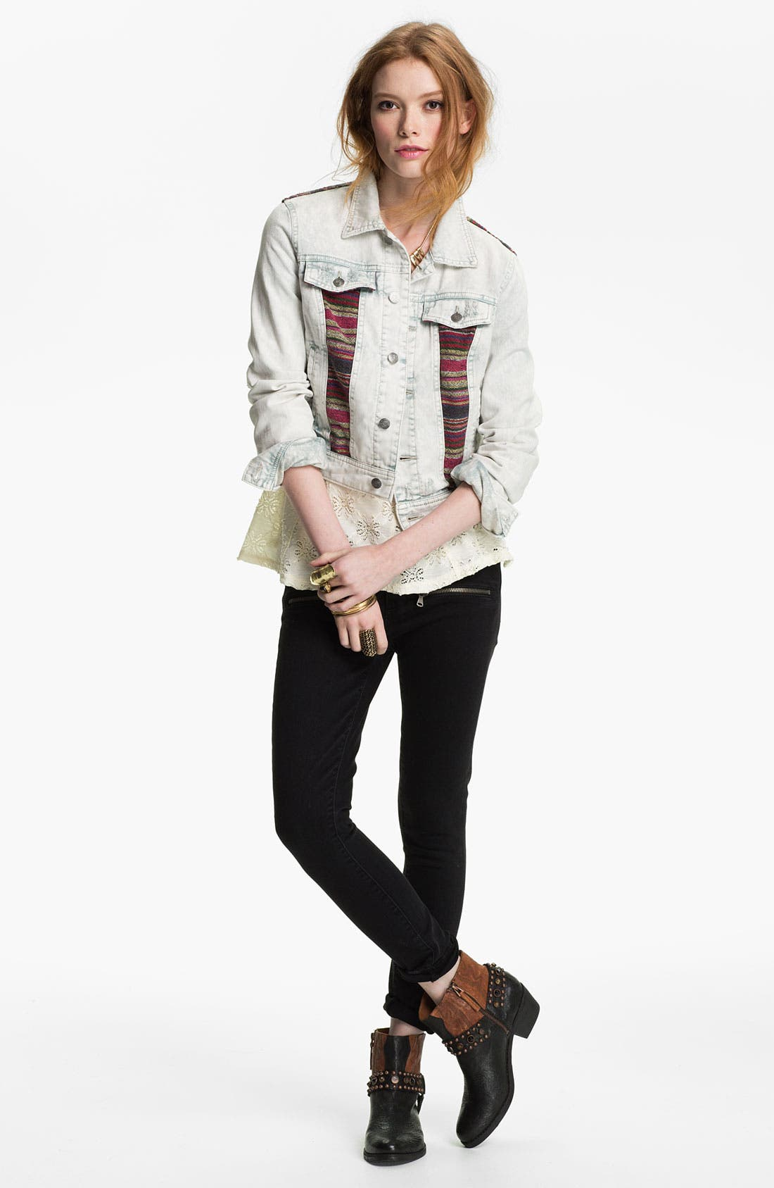 Paige Jeans, Free People Jacket & Top,                         Main,                         color, Trash White Wash