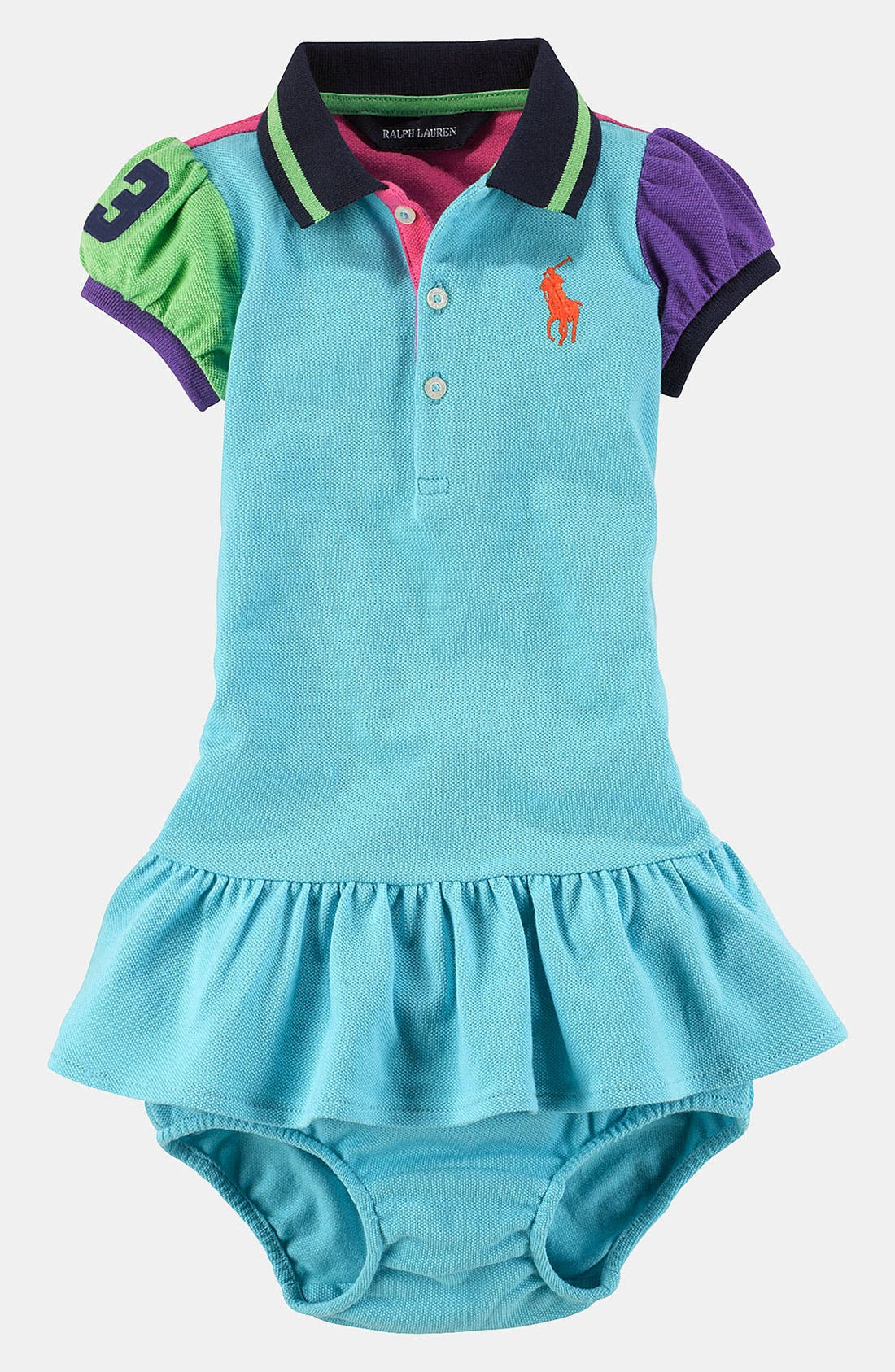 Alternate Image 1 Selected - Ralph Lauren Colorblock Dress & Bloomers (Infant)