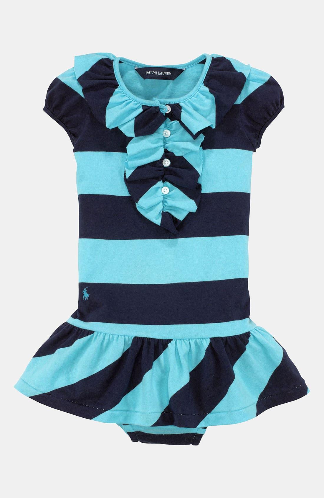 Alternate Image 1 Selected - Ralph Lauren Stripe Dress & Bloomers (Infant)