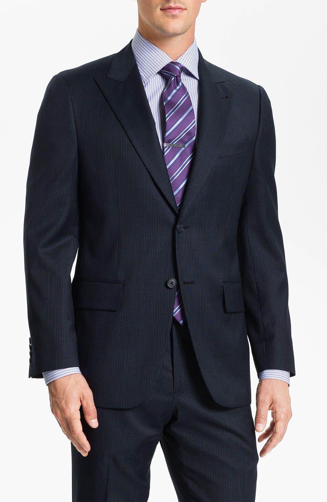Alternate Image 1 Selected - Joseph Abboud Trim Fit Peak Lapel Stripe Suit