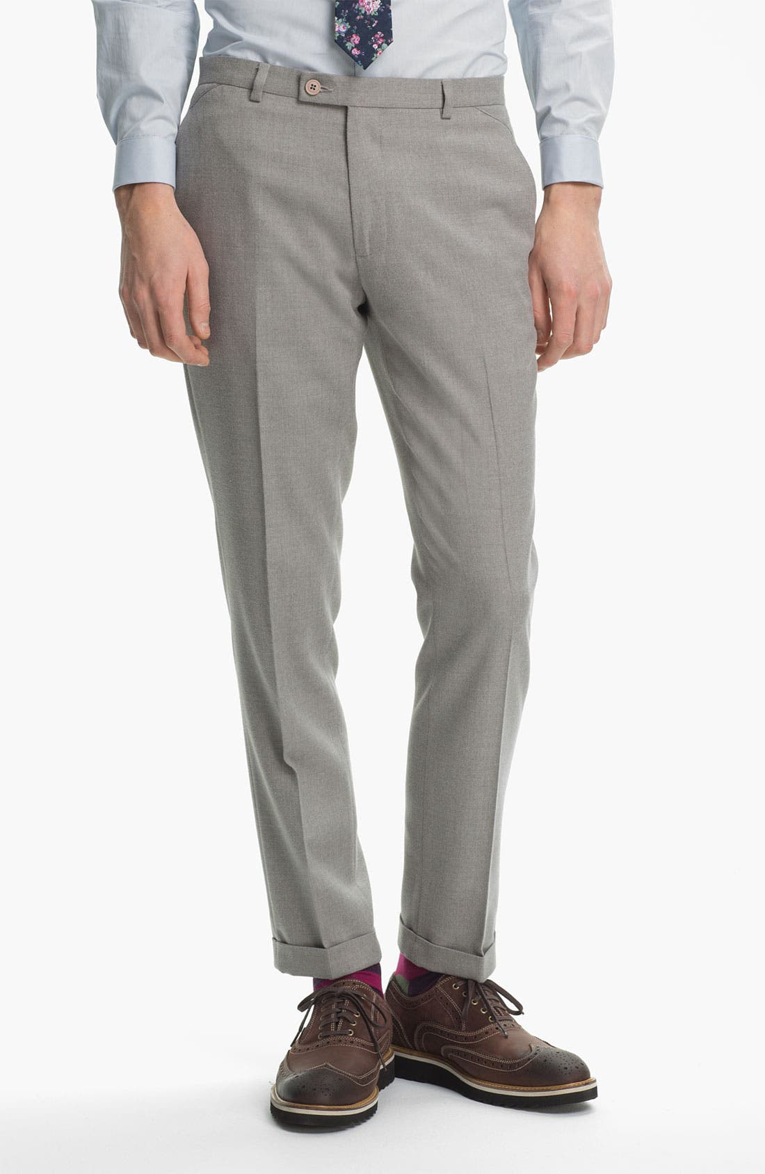 Alternate Image 1 Selected - Topman Brushed Skinny Fit Trousers
