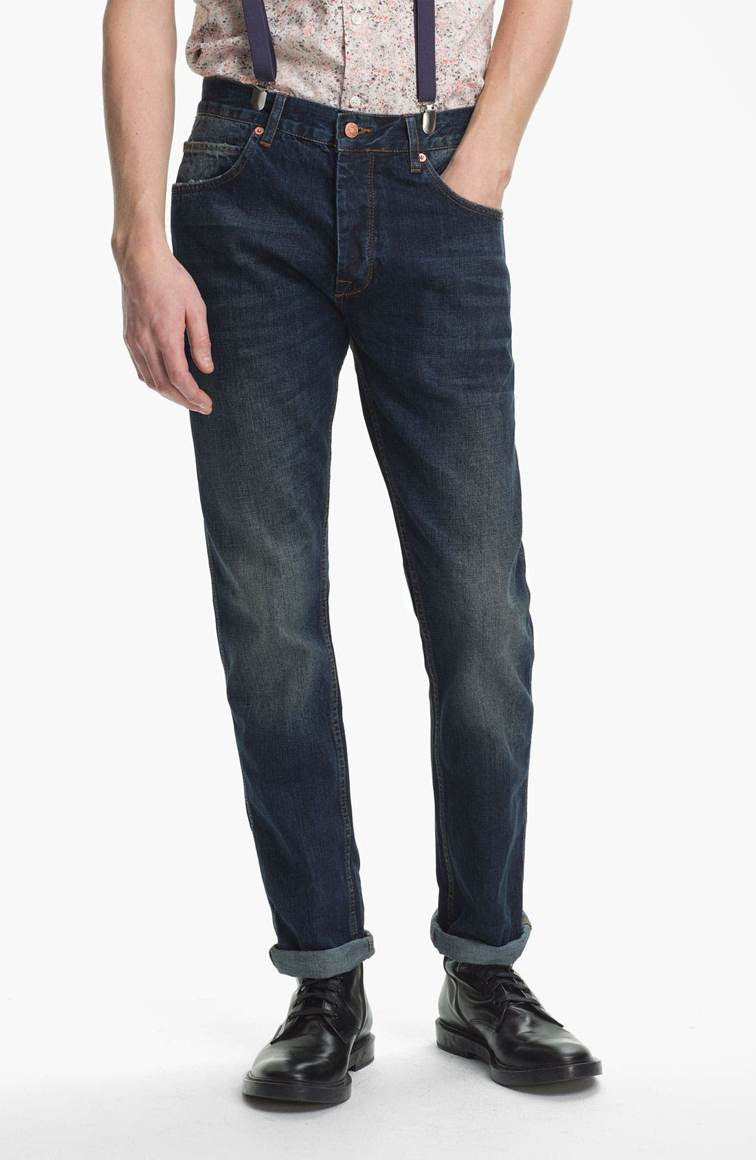 Alternate Image 2  - Topman Slim Fit Jeans (Indigo)