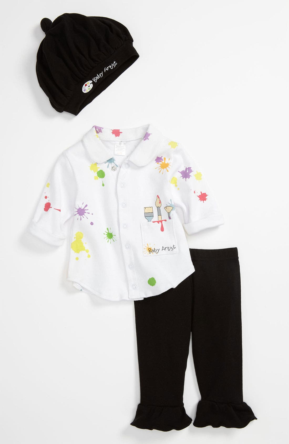 Alternate Image 1 Selected - Baby Aspen 'Baby Artist' Shirt, Pants & Hat (Baby)